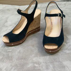 Antonio Melani Black Suede Peep Toe Wedges Size 7